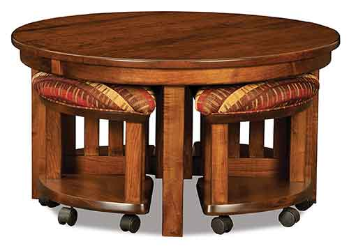 Amish Five Piece Round Table/Bench Set