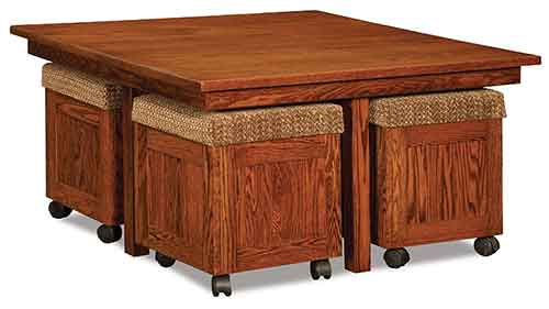 Amish Five Piece Square Table/Bench Set
