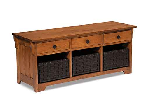 Amish Lattice Weave Drawer Bench