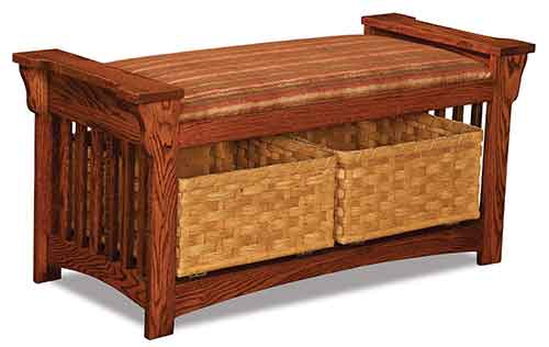 Amish Mission Slat Bench w/ Baskets