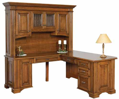 Amish Lincoln Corner Desk with Optional Hutch