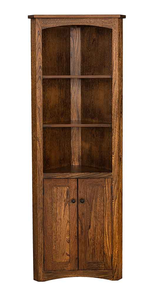 Amish Mission Corner Bookcase with Doors