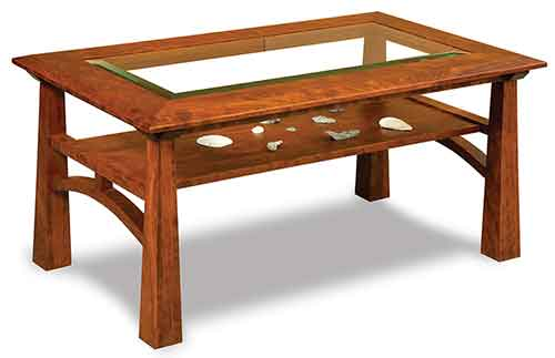 Amish Artesa Glass Top Coffee Table