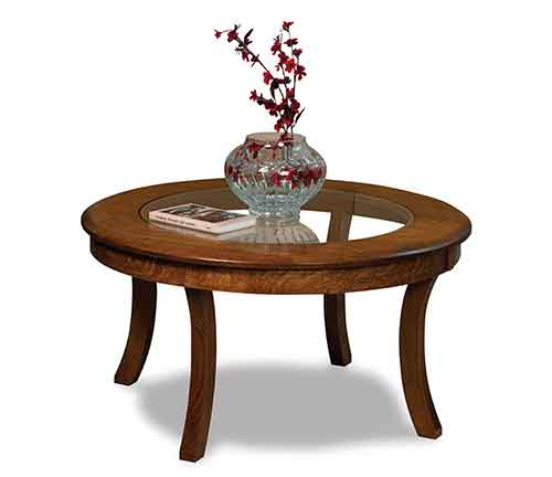 Amish Sierra Round Glass Top Coffee Table