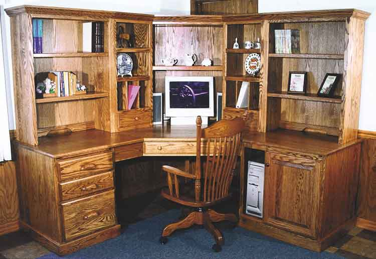 Amish 6-Piece Corner Computer Center (Traditional)