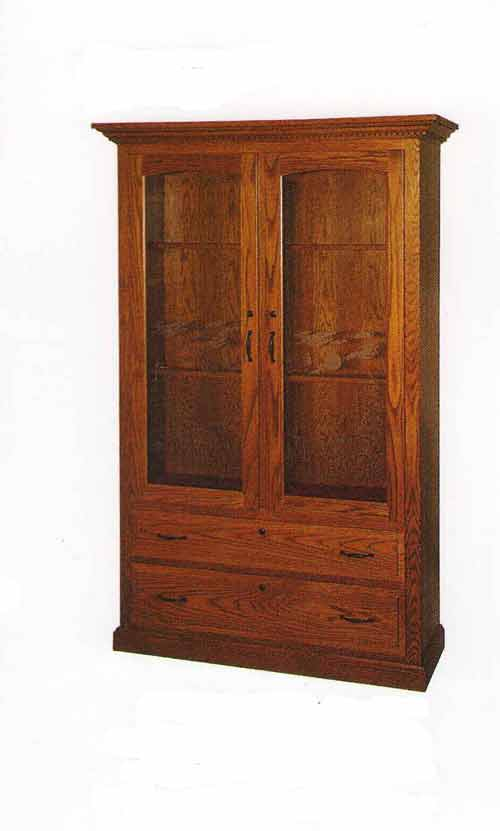 Amish Double Door Double Drawer Gun Cabinet