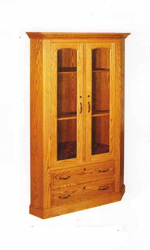 Amish Two Door Two Drawer Corner Gun Cabinet