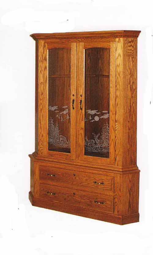 Amish Two Door Corner Gun Cabinet with Etchings