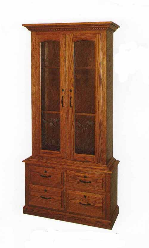 Amish Two Door and Four Drawer Gun Cabinet