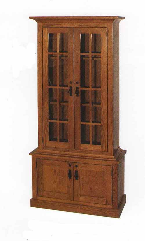 Amish Two Door Gun Cabinet with Mullions