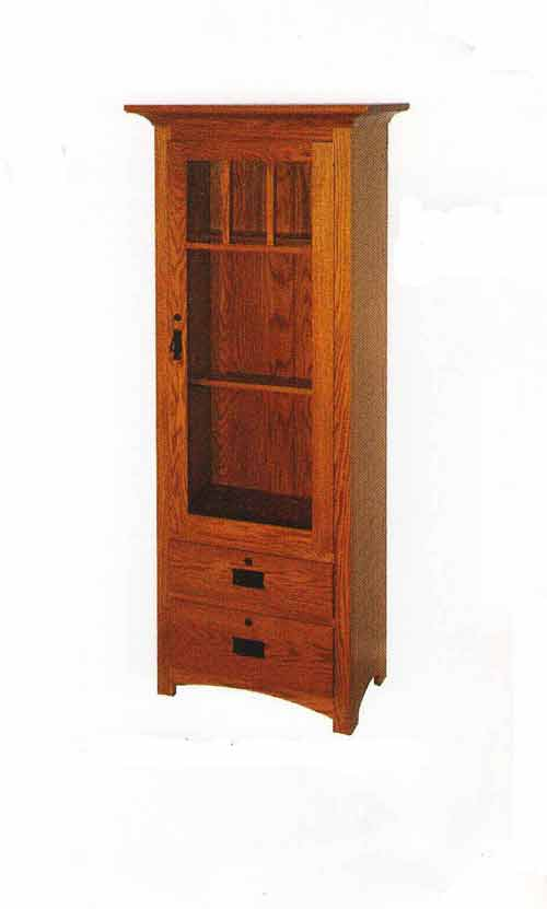 Amish Shaker Style Two Drawer Gun Cabinet