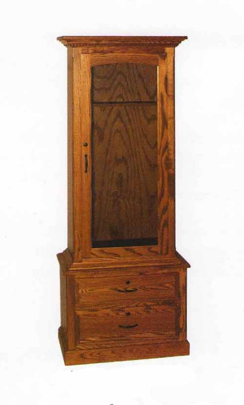 Amish Single Door Two Drawer Gun Cabinet
