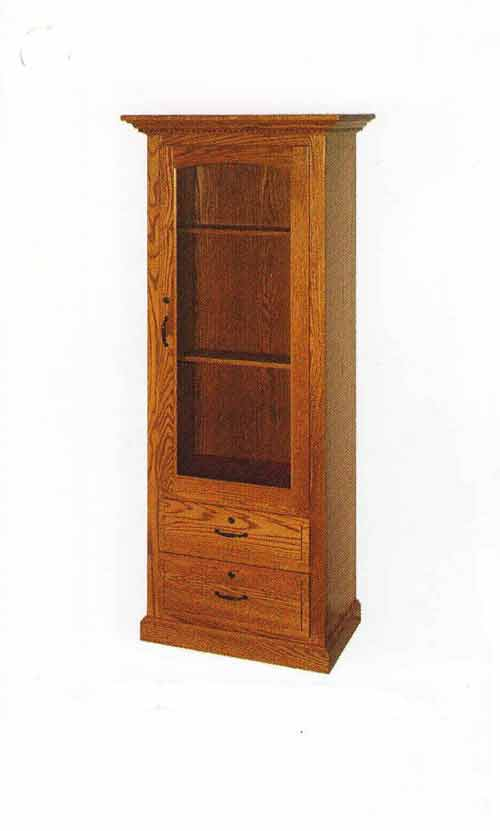 Amish Single Door Double Drawer Shaker Gun Cabinet