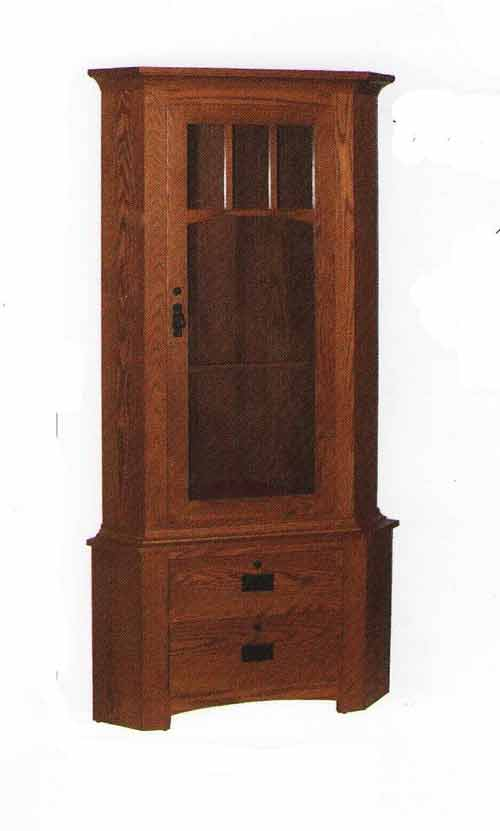 Amish Single Door Corner Gun Cabinet