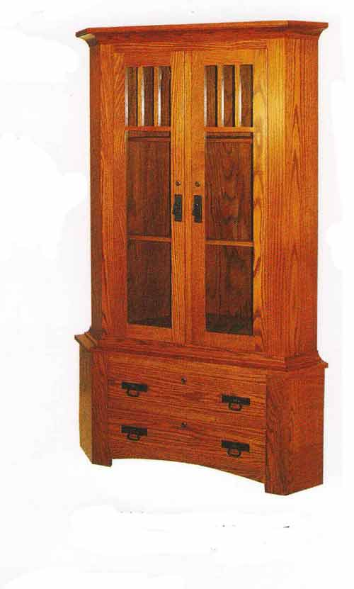 Amish Double Door Corner Gun Cabinet with Mullions