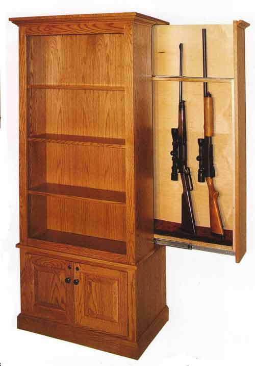 Amish Book Case With Hidden Gun Cabinet