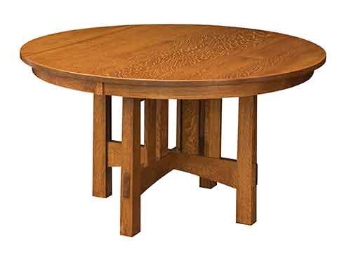 Amish Round Modesto Trestle Table, Furniture Market Modesto