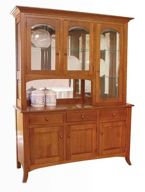 Amish Curve ShakerChina Cabinet Hutch