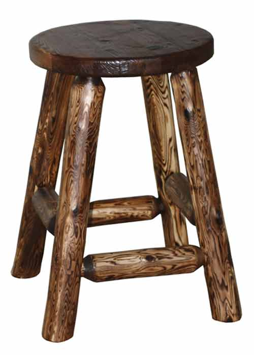 Amish Made Rustic Round Top Stool